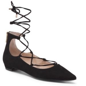 5/$25 Unisa Lace Up Pointed Toe Flats -TAUPE
